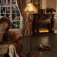Retro Luxury Peacock LED Floor Lamps Cloth Lampshade for Bedroom Living Room Lighting E27 110 220V Floor Lights