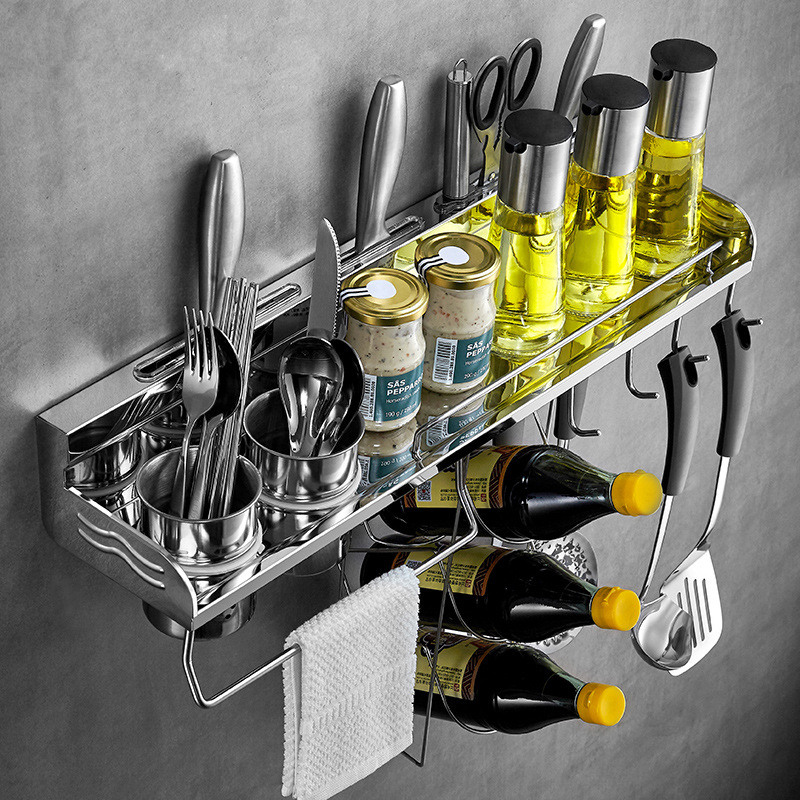 Kitchen Pantry Racks 304 Stainless Steel Wall Shelf Cookware Storage Knife Kitchen Utensil Tool Sundry Hooks Despensa