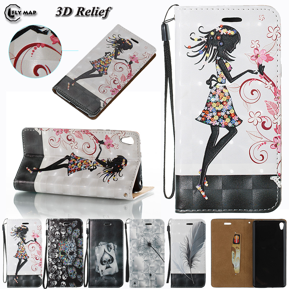 3D Relief Case For Sony Xperia E5 E 5 LTE 5E Flip Wallet Phone PU leather Cover Coque For xperiaE5 F3311 F 3311 F3313 Shell Bag