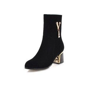 Image 4 - MORAZORA 2020 ホット販売アンクルブーツ女性のためのジッパーファッション秋冬ブーツ真珠エレガントなハイヒールのブーツ、カジュアル靴