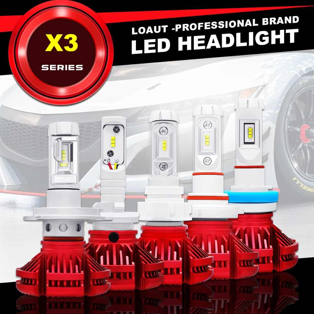 LOAUT H7 LED Car Headlight H1 H3 Car Styling H4 LED Automotivo Lamp X3 H11 9005 9006 CSP 16000LM 24V 3000K 6000K 8000K Fog Light