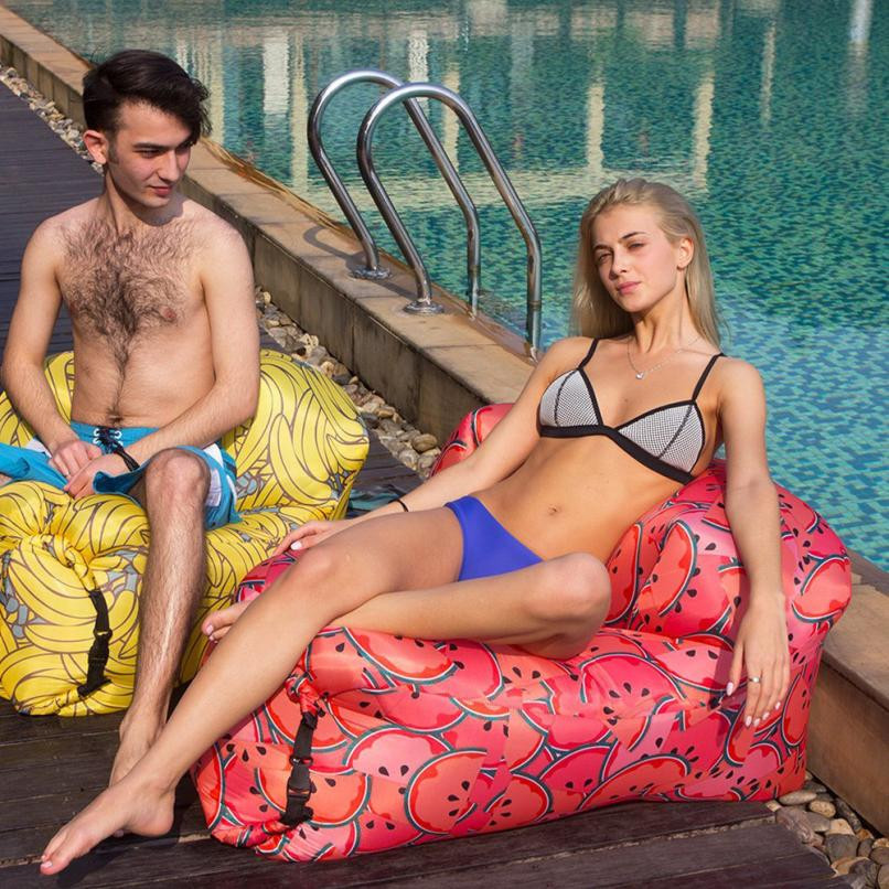 NEW Watermelon Print Quick inflatable sofa Durable Outdoor Lounger Chair home Leisure sleeping bags Camping bed beach pool party