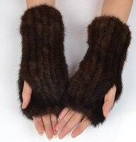 25センチレディナチュラルニットミンクの毛皮の手袋弾性ミンクミトン手首カフ女性半指ナチュラルミンクの毛皮指なしミトン