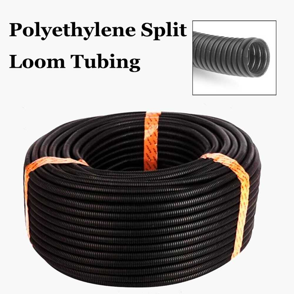 50ft split wire loom conduit sleeve tube polyethylene black heat resistant flexible bellows hose corrugated conduit cable wiring harness sleeve wire loom pvc – silver gray 6mm, 8mm