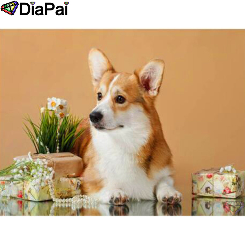DIAPAI 100 Full Square Round Drill 5D DIY Diamond Painting quot Animal dog quot Diamond Embroidery Cross Stitch 3D Decor A19654 in Diamond Painting Cross Stitch from Home amp Garden