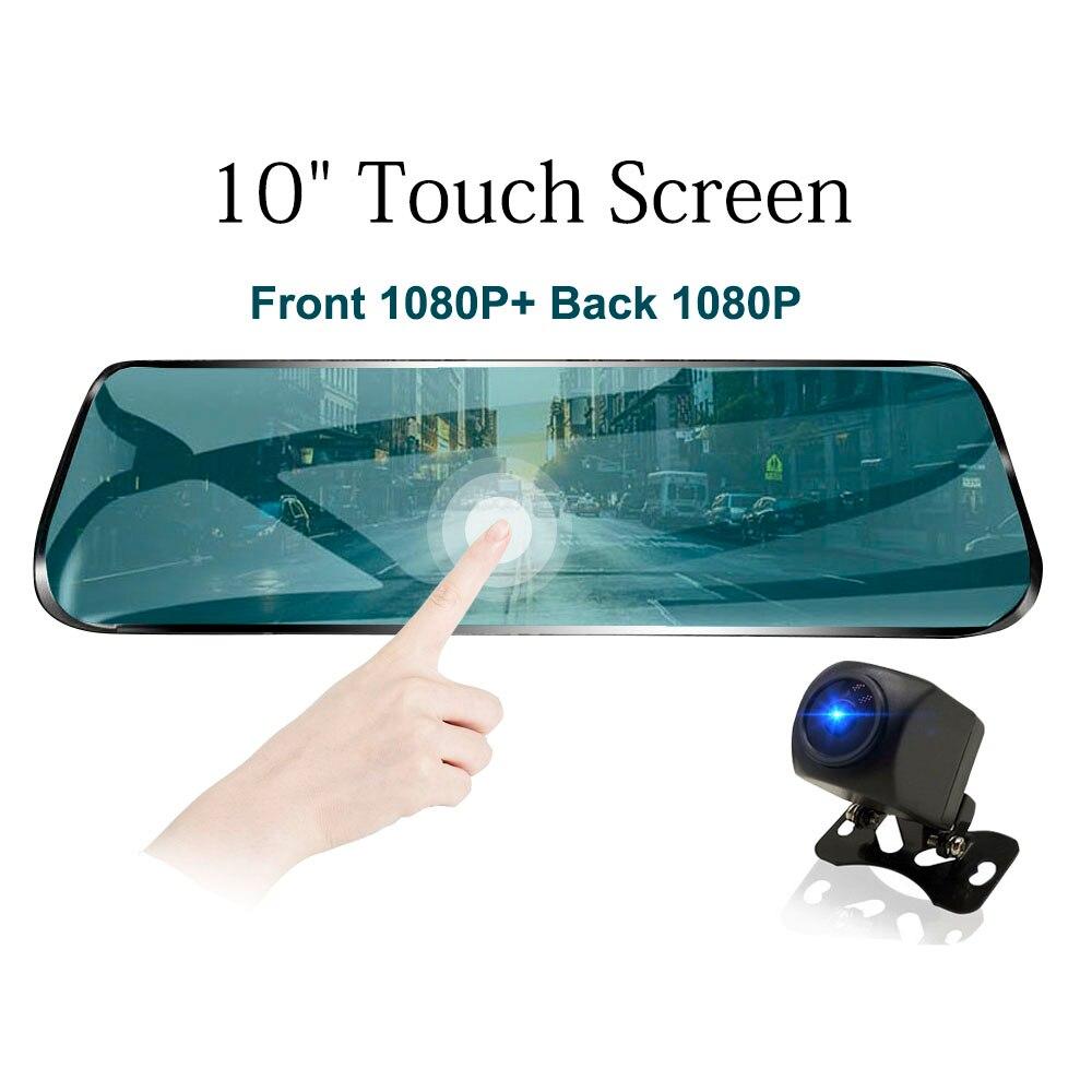 TAVIN 10 polegada Tela de Toque Espelho Retrovisor Do Carro DVR Traço cam Full HD Câmera Do Carro Da Frente + 1080 P volta Cam Dual Lens Gravador de Vídeo