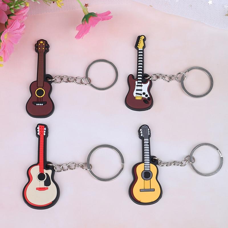 HWetR New 2Pcs Soft Silicone Instrument Keychain Folk Electric Classical Guitar Ukulele Key Ring High Quality Wholesale