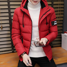 Men's winter new hooded coat Korean version of the trend handsome personality plus velvet thick down cotton jacket jacket 2018 new girls in the winter of the south korean version of the thick down jacket with a long coat in the hair collar and jacket
