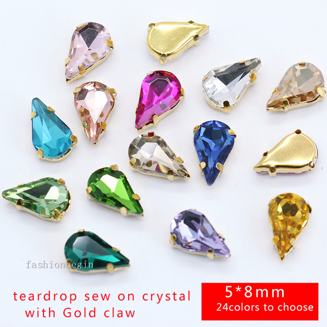 20p 5x8mm color teardrop sew on faceted glass crystal rhinestones jewels  gold base costume Dress Beads shoes bags DIY craft Gems 50d259a3b78d