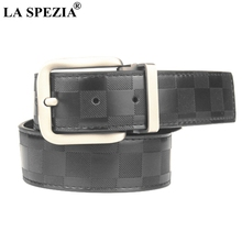 LA SPEZIA Men Leather Belt Black Plaid Genuine Male Business Formal Retro Pin Buckle Suit Cowhide