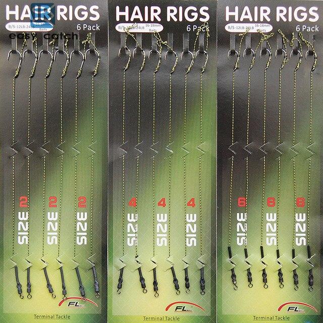 Easy Catch 18pcs Carp Fishing Hair Rigs Braided Thread 8340 Hooks Swivel Boilies Carp Rigs Carp Fishing Accessories