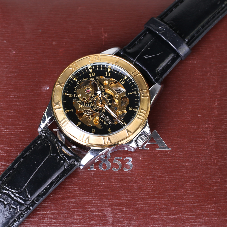 watch logo top case watches men fashion engraving product stainless transparent forsining mechanical brand steel golden