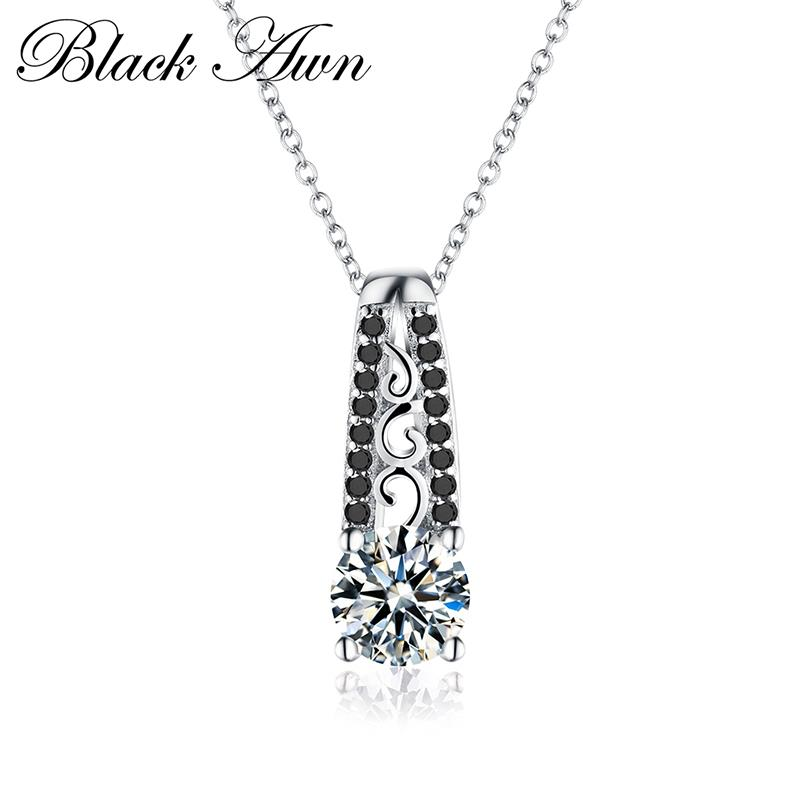 Vintage Silver Necklace 925 Sterling Silver Fine Jewelry Trendy Engagement Necklaces For Women Wedding Pendants P061