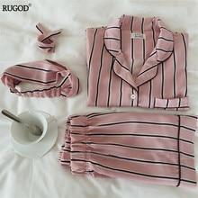RUGOD Mulheres Pijamas de Verão 2017 de Moda de Nova Turn-down Collar Sleepwear 2 Conjunto de Duas Peças Shirt + Calções Listrados Conjunto de Pijama casuais
