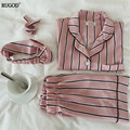 RUGOD Summer 2018 New Fashion Women Pajamas Turn-down Collar Sleepwear 2 Two Piece Set Shirt+Shorts Striped Casual Pajama Set