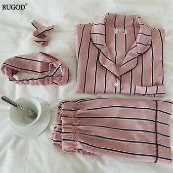 RUGOD Summer 2020 New Fashion Women Pajamas Turn down Collar Sleepwear 2 Two Piece Set Shirt