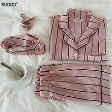 RUGOD ensemble pyjama pour femme, ensemble 2 deux pièces, chemise + short, col rabattu, à rayures, 2020, nouvelle mode décontracté