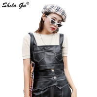 Streetwear Leather Tanks Womens Front Pocket Back Single Breasted Sheepskin Genuine Leather Short Caims Casual Female Crop Tops