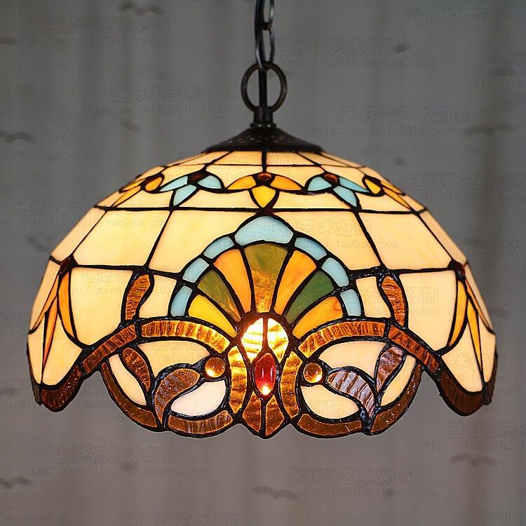 Tiffany Baroque vitrail suspendu Luminaire E27 110-240v chaîne pendentif lumières éclairage lampes pour maison salon salle à manger - 3