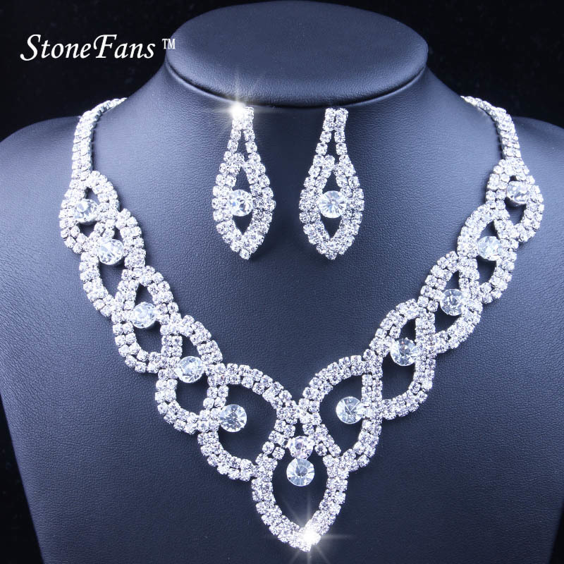 StoneFans Women Luxury Wedding Prom Bridal Crystal Rhinestone