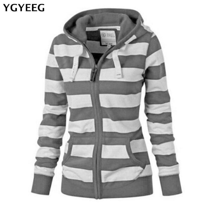 YGYEEG Autumn Women Bomber   Basic     Jacket   Pocket Zipper Hooded Wear Stripe Print Outwear Loose Coat Casual Coats Plus Size S-4XL