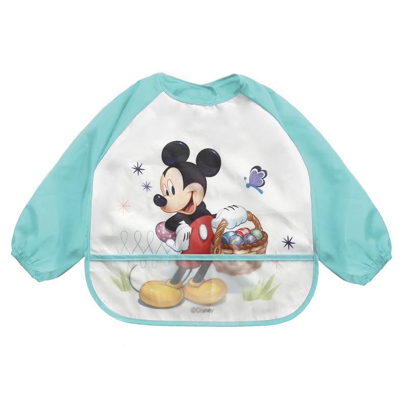 Baby Bibs Long Sleeve Cartoon Cotton Waterproof Bib Burp Clothes Baberos Baby Stuff Disney Accessory