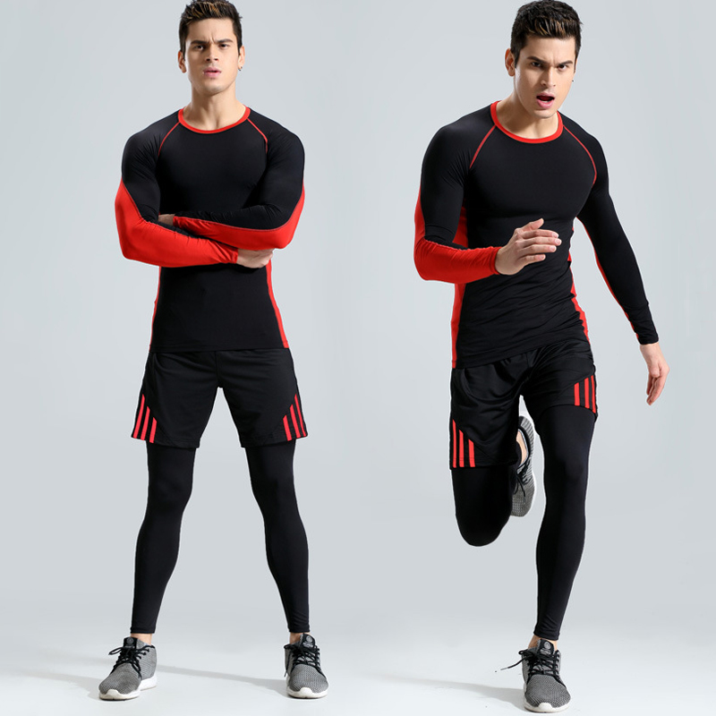 Hot Summer Running Set Men's Sports Suits Fitness T-shirts+Shorts+pants Sportswear Basketball Workout Jogging Suits Gym Clothes