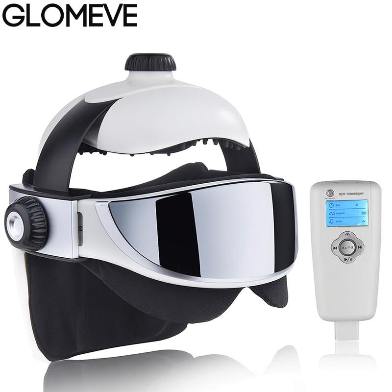 GLOMEVE Electric Neck Head Massager Far Infrared Heating Eye Mask Massage Vibration Air Pressure Muscle Stimulator