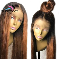Sunnymay T1b/30 Ombre Color Lace Front Human Hair Wigs Remy Hair Glueless Straight Lace Front Wigs With Dark Roots Pre Plucked