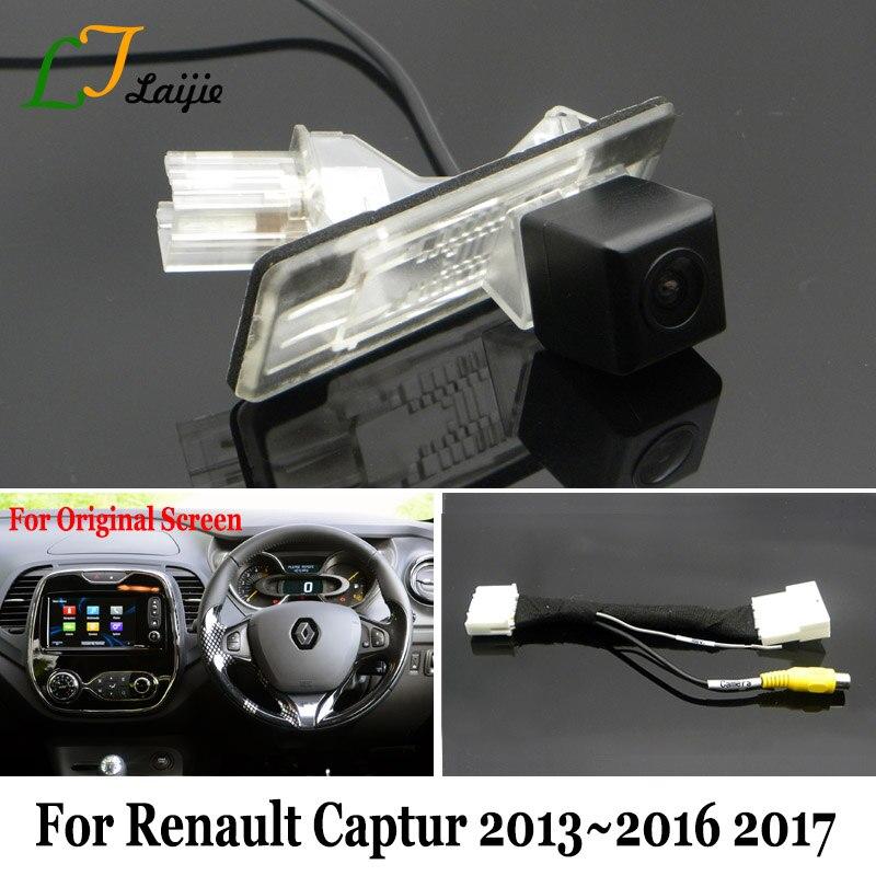 Laijie Voiture Caméra De Recul Avec 24Pin Adaptateur Câble Pour Renault Captur 2014 ~ 2018/OEM Moniteur Compatible Arrière Vue Caméra/HD