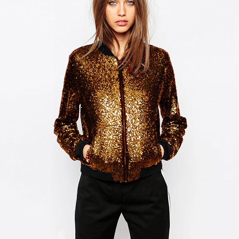 Sequined Loose Bomber Jacket 1