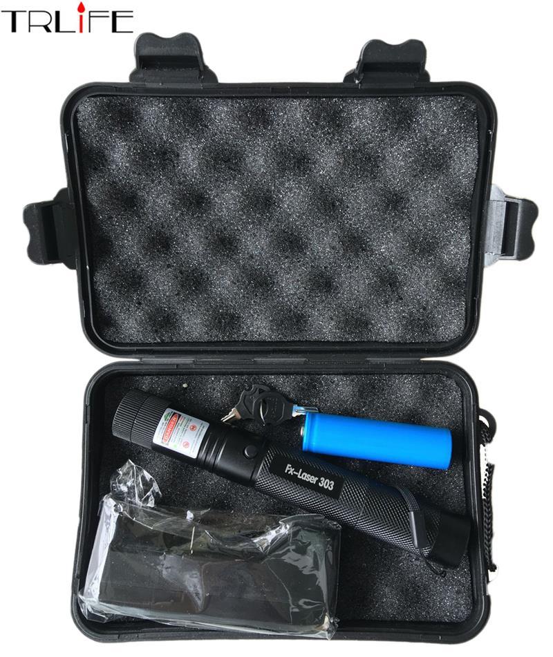 Haute puissance lampe de poche Laser 532nm Allumette de Pointeur Laser Stylo avec la Clé du Coffre Vert Rouge laser + 18650 batterie + chargeur + Boîte