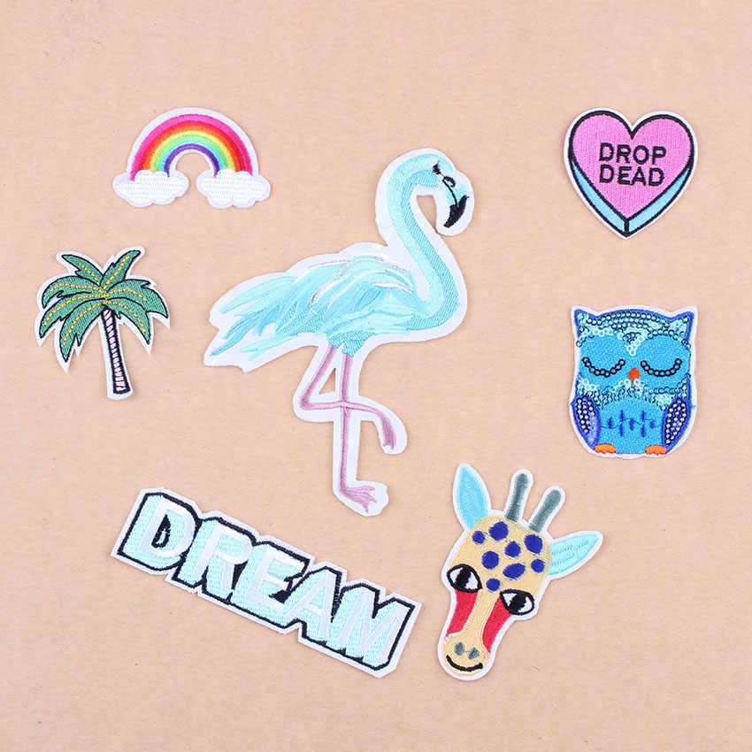 DIY Big Bird Flamingo łatki haftowana litera łatka na odzież aplikacje do naprasowania żelazko do szycia na sercu łatka tęczowy pasek C1
