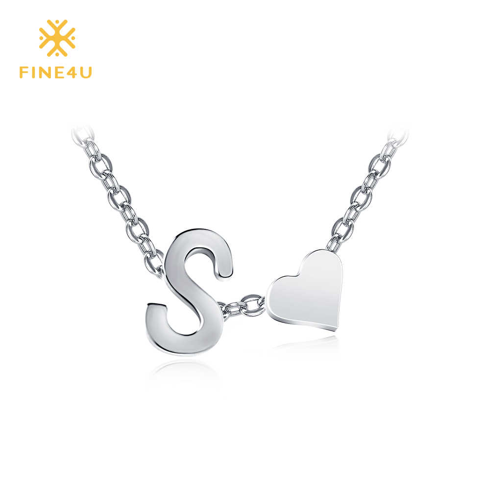 2018 New FINE4U N023 Heart Necklace Stainless Steel Letter Chain Necklaces For Women Wedding Party Jewelry