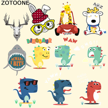 ZOTOONE Ceartoon Bear Dinosaur Rabbit Patches for Children Clothes Stickers Iron-on Transfers A-level Washable DIY Animal Patch