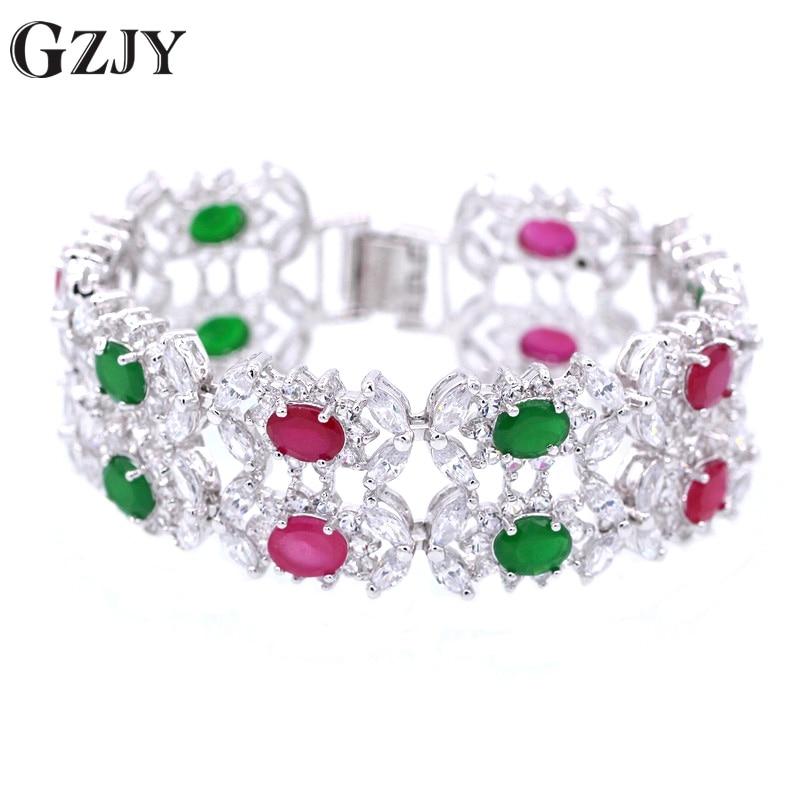 Fashion Bridal Jewelry Accessories Handmade Natural Ruby Emerald Zircon 180mm Wedding Bracelets Bangles For Women