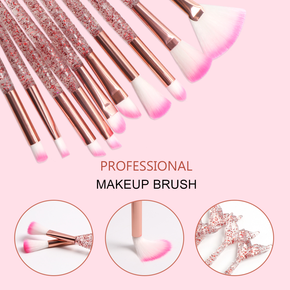 Dighealth 10pcs Mermaid Brush Foundation Powder Eye shadow Eyeliner Makeup Brushes Eyebrow Blush Lip Make Up Brush Mermaid Set 1