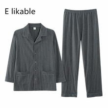 E likable2018 autumn and winter new long sleeved fashion men s cotton casual comfortable breathable striped