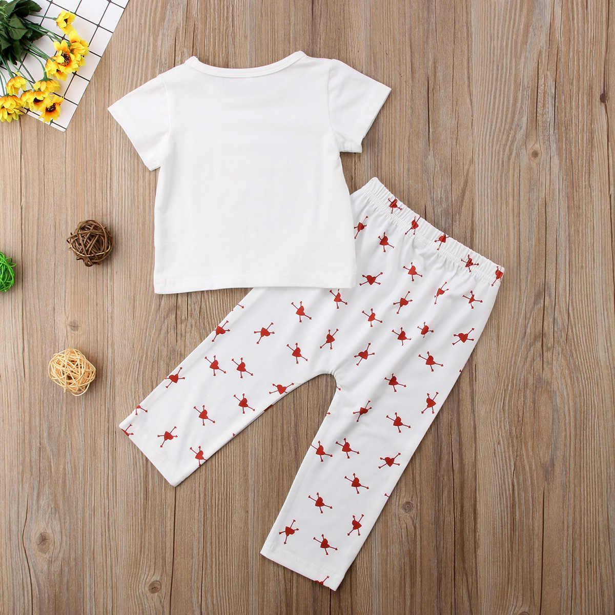 2018 mới thời trang mùa hè Khá 2 Cái Bé Sơ Sinh Boy Girl Trang Phục Letter In Tops T-Shirt Quần Quần Áo phong cách ngọt ngào CH