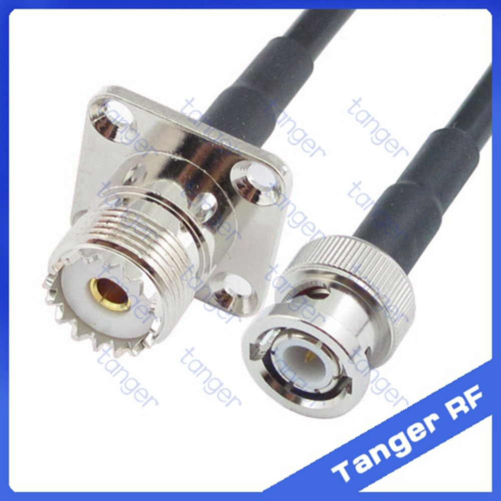 Hot Selling BNC male plug to UHF female jack SO239 4four hole panel Sstraight RF RG58 Pigtail Jumper Coaxial Cable 20inch 50cm русский гамак rg 20 материал канвас полоска 4