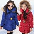 5-14 Años Chaqueta de Invierno Para Niñas Niños de La Manera Con Capucha de Down Algodón Parka Niñas Niños Invierno Ropa de Abrigo Capa de Las Muchachas Ropa de abrigo