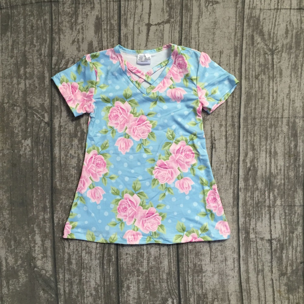 Special offer Summer dress baby girls milk silk floral short sleeves flower print sky blue  clothing boutique 1-10t available