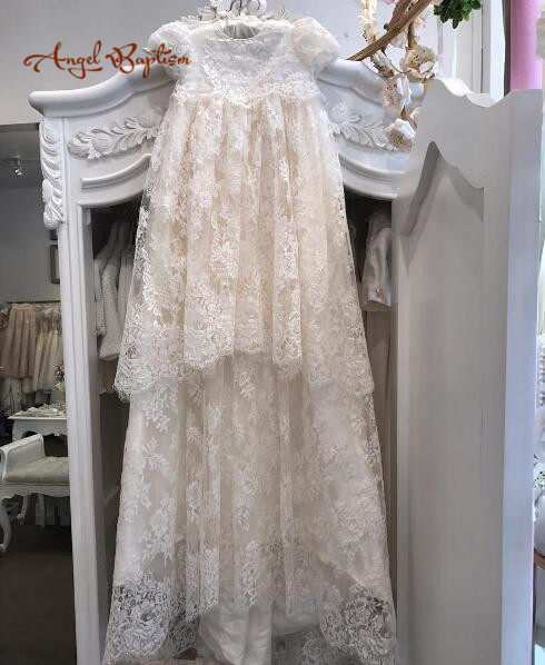 43 inches long vintage baby girl christening dresses two layers french alencon lace baptism gown heirloom outfit for blessing