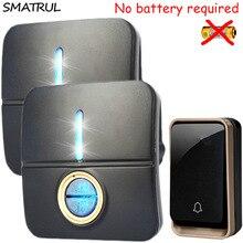 SMATRUL self powered Waterproof Wireless DoorBell no battery EU plug smart Door Bell 1 2 button 1 2 Receiver 110 220V 150M range