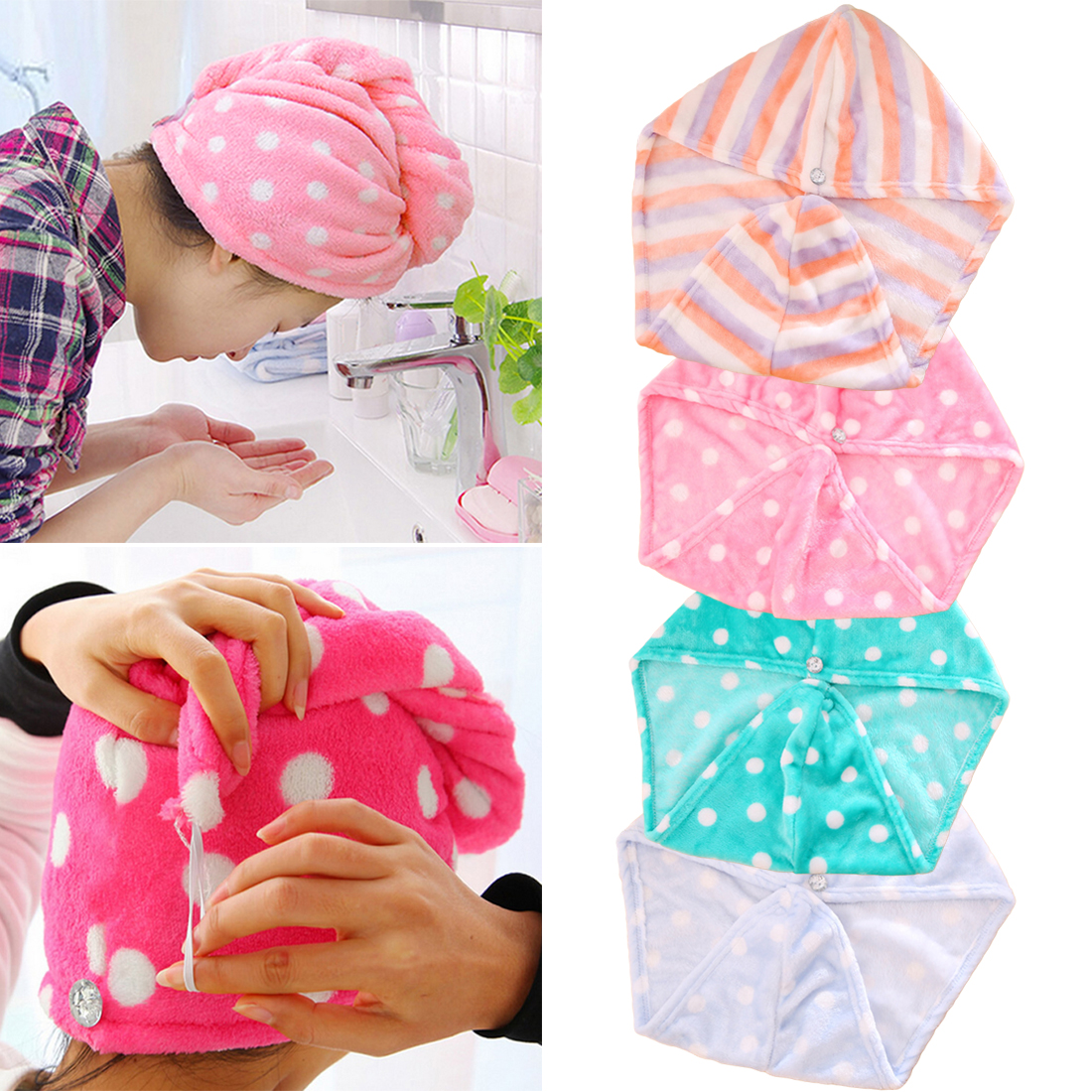 Magic Quick-dry Bath Hair Towels Womens Girls Lady's Dot Drying Towel Head Wrap Hat Makeup Cosmetics Cap Bathing Tool 1pc