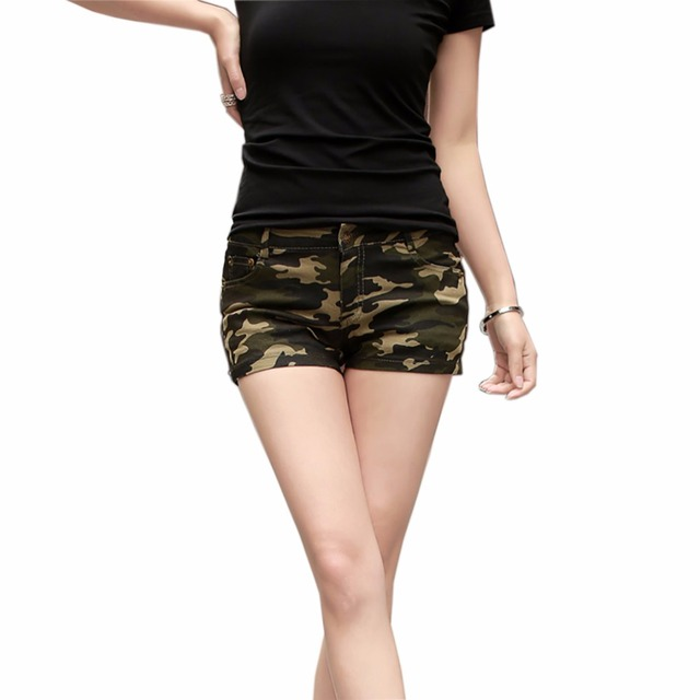 Tengo Fashion Summer Denim Shorts for Women Short Pants Femme Casual Camouflage Jeans