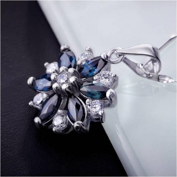 Настоящее ожерелье Qi xuan_темно-синий камень цветок кулон ожерелье_ Настоящее ожерелье_ качество eded_производитель напрямую