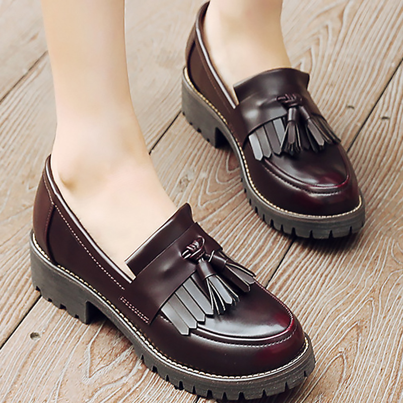 Career ladies shoes sneakers women genuine leather shoes fringe slip-on loafers solid bl ...