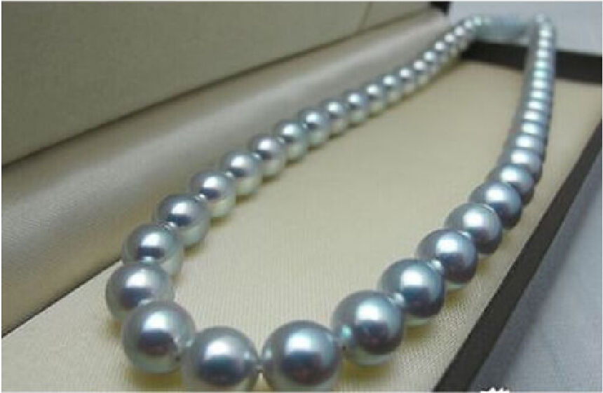 free shipping classic AAA+ natural 11 12mm south sea grey pearl necklace 18 inch a()