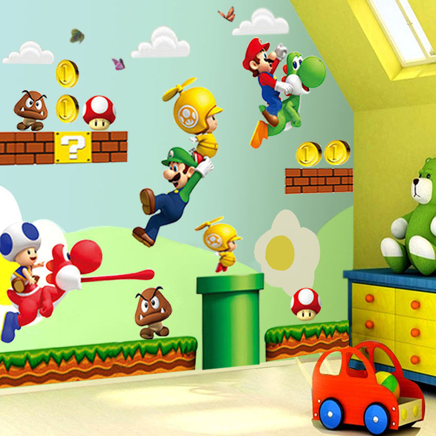 Cute Cartoon Super Mario Bros Mural Wall Decals Sticker Kids Baby Living Room Decor Removable Vinyl Luzh
